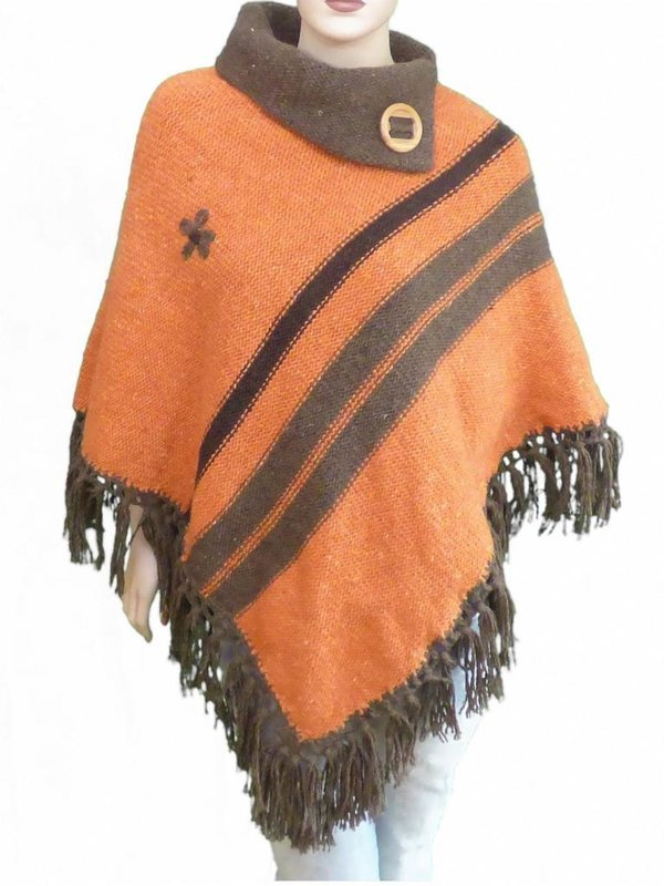 Strick Poncho Orange