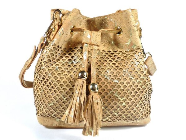 "Bucket Bag aus Kork ""Gold"""